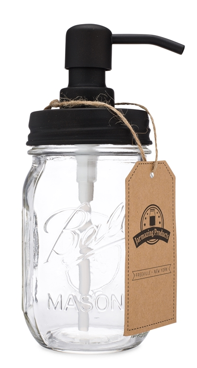 Classic Farmhouse Mason Jar Soap Dispenser - Black - With 16 Ounce Ball Jar