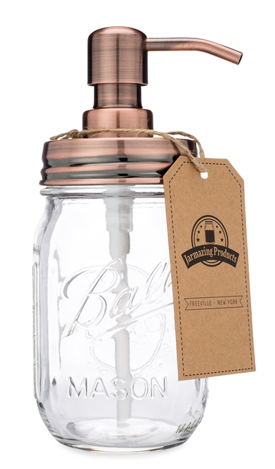 Classic Farmhouse Mason Jar Soap Dispenser - Copper - With 16 Ounce Ball Mason Jar