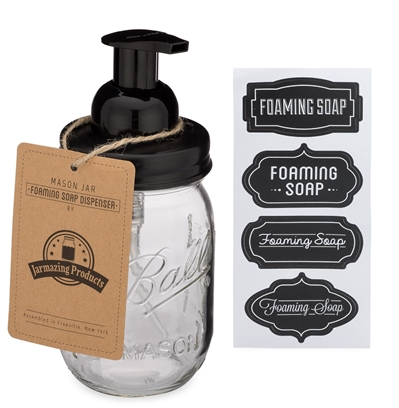 Mason Jar Foaming Soap Dispenser - Black - With 16 Ounce Ball Mason Jar