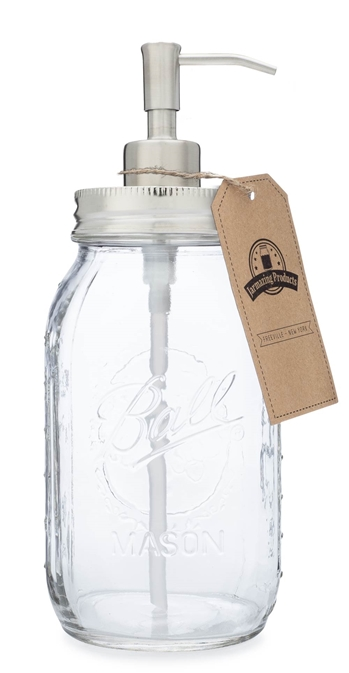 Quart Size Mason Jar Soap and Lotion Dispenser - Stainless Steel
